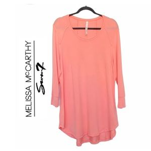 Melissa Mcarthy Seven7 Coral Long Sleeve Sweater